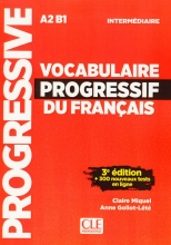 کتاب لغت فرانسوی Vocabulaire Progressif Du Francais A2 B1 - Intermediaire - 3rd +Corriges+CD رنگی